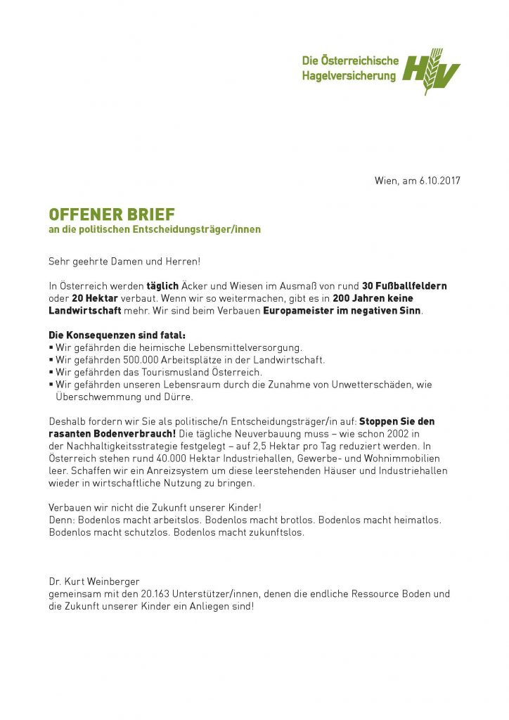Briefe Beispiele Terbaru : Offener brief der hagelversicherung für den schutz unserer