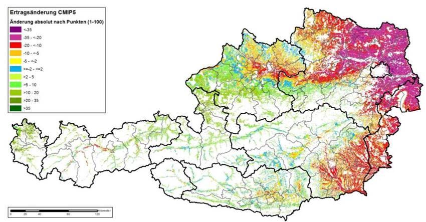 Veränderung der Bodenbonitäten im Vergleich der Perioden 1981-2010 und 2036-2065 (Quelle: AGES 2018: BEAT – Bodenbedarf für die Ernährungssicherung in Oberösterreich - Klimaszenario CMIP5)